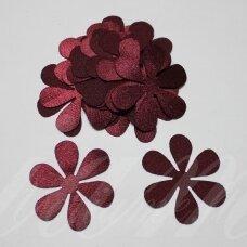 atl0009-gel-53x53 apie 53 x 53 mm, gėlytės forma, bordo spalva, atlasas, 10 vnt.