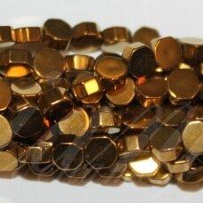 jsha-auk-6br-8x3 apie 8x3 mm, šešiakampio forma, auksinė spalva, hematitas, apie 52 vnt.