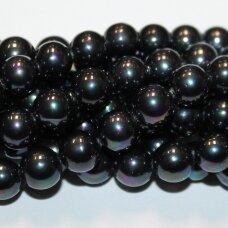 jsakpe-pilkab-apv-12 apie 12 mm, apvali forma, tamsi, pilka spalva, ab danga, perlų masė, apie 32 vnt.