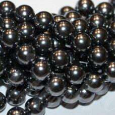jsakpe-tpilk-apv-12 apie 12 mm, apvali forma, tamsi, pilka spalva, perlų masė, apie 32 vnt.