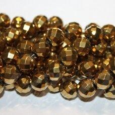 JSHA-AUK-APV-BR1-08 apie 8 mm, apvali forma, briaunuotas, aukso spalva, hematitas, apie 48 vnt.