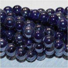 jsker0002-apv-12 (A34) apie 12 mm, apvali forma, tamsi, mėlyna spalva, keramikiniai karoliukai, apie 25 vnt.