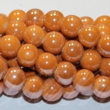 jsker0003-apv-10 about 10 mm, round shape, orange color, ceramic beads, about 30 pcs.