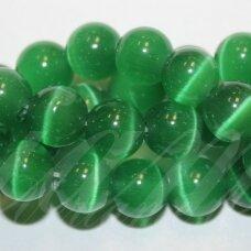 jsstkat0009-apv-14 apie 14 mm, apvali forma, tamsi, žalia spalva, stiklinis karoliukas, katės akis, apie 28 vnt.