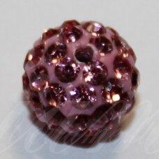 ksam0021-14 apie 14 mm, apvali forma, rožinė spalva, šambalos karoliukas, 3 vnt.