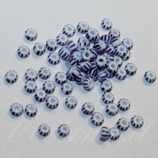 pccb03331-04/0 4.8 - 5.3 mm, apvali forma, balta spalva, dryžuoti, mėlyna spalva, apie 50 g.