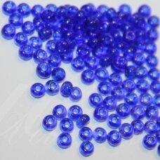 pccb30080-15/0 1.4 - 1.5 mm, apvali forma, skaidrus, tamsi, mėlyna spalva, apie 50 g.