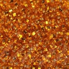 PCCB311/29001/87060-11/0 (2.0 - 2.2 mm), apvali forma, skaidrus, oranžinė spalva, kvadratinė skylė, viduriukas su folija, apie 50 g.
