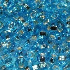 pccb321/29001/67010-08/0 2.8 - 3.2 mm, apvali forma, skaidrus, mėlyna spalva, kvadratinė skylė, viduriukas su folija, apie 50 g.