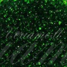 pccb331/29001/50120-14/0 1.5 - 1.6 mm, apvali forma, skaidrus, žalia spalva, kvadratinė skylė, apie 50 g.