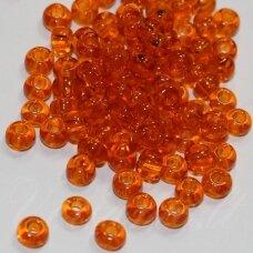 pccb90000-14/0 1.5 - 1.6 mm, apvali forma, skaidrus, oranžinė spalva, apie 50 g.