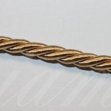 ppvgel0165 apie 4 mm, šviesi, auksinė spalva, sukta virvutė, 1 m.