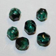 stkb50730/22201-03 apie 3 mm, apvali forma, briaunuotas, skaidrus, tamsi, žalia spalva, ab danga, stiklinis karoliukas, apie 90 vnt.