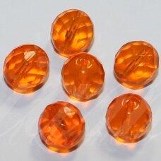 stkb90020-10 apie 10 mm, apvali forma, briaunuotas, skaidrus, oranžinė spalva, stiklinis karoliukas, apie 15 vnt.