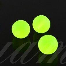 stmat0030-10 apie 10 mm, apvali forma, matinė, salotinė spalva, stiklinis karoliukas, apie 12 vnt.