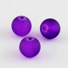 stmat0032-10 apie 10 mm, apvali forma, matinė, violetinė spalva, stiklinis karoliukas, apie 12 vnt.
