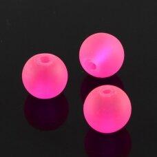 stmat0035-10 apie 10 mm, apvali forma, matinė, neoninė, rožinė spalva, stiklinis karoliukas, apie 12 vnt.