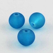 stmat0037-06 apie 6 mm, apvali forma, matinė, mėlyna spalva, stiklinis karoliukas, apie 48 vnt.
