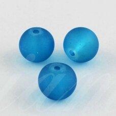 stmat0037-10 apie 10 mm, apvali forma, matinė, mėlyna spalva, stiklinis karoliukas, apie 12 vnt