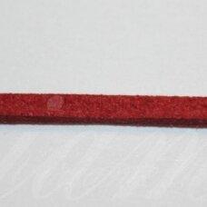 zj0020-1.5x2.5 apie 1.5 x 2.5 mm, tamsi, raudona spalva, zomšinė juostelė, apie 1 m.
