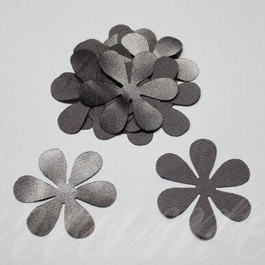 atl0001-gel-33x33 apie 33 x 33 mm, gėlytės forma, pilka spalva, atlasas, 10 vnt.