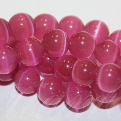 JSSTKAT0001-APV-10 apie 10 mm, apvali forma, ryški, rožinė spalva, stikliniai karoliukai, katės akis, apie 38 vnt.