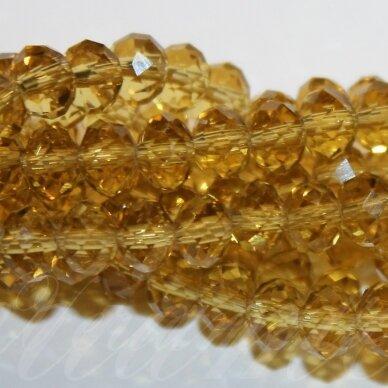 jssw0004gel-ron-06x8 apie 6 x 8 mm, rondelės forma, skaidrus, geltona spalva, stikliniai / kristalo karoliukai, apie 72 vnt.