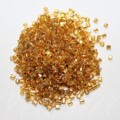 PCCB31001/17050-09/0 2.4 x 2.4 mm, pailga forma, skaidrus, aukso spalva, viduriukas su folija, apie 50 g.