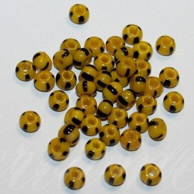 PCCB83490-02/0 5.8 - 6.3 mm, apvali forma, geltona spalva, dryžuotas, juoda spalva, apie 50 g.