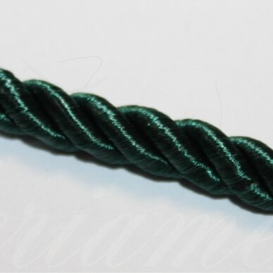 ppvgel0142 apie 4 mm, tamsi, žalia spalva, sukta virvutė, 1 m.