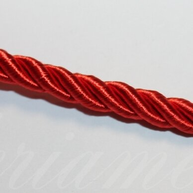 ppvgel0124 apie 4 mm, raudona spalva, sukta virvutė, 1 m.