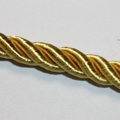 ppvgel0169 apie 3 mm, šviesi, auksinė spalva, sukta virvutė, 1 m.