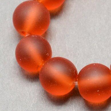 stmat0006-10 apie 10 mm, apvali forma, matinė, oranžinė spalva, stiklinis karoliukas, apie 12 vnt.
