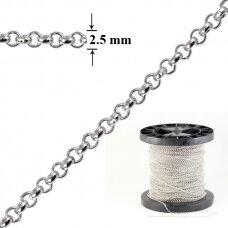 925 Sidabrinė Belcher karpoma grandinėlė 2.5mm pločio padengta rodžiu (5cm)