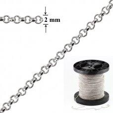 925 Sidabrinė Belcher karpoma grandinėlė 2mm pločio padengta rodžiu (5cm)