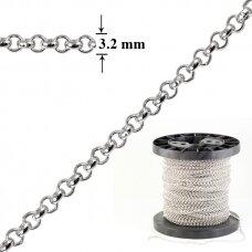 925 Sidabrinė Belcher karpoma grandinėlė 3.2mm pločio padengta rodžiu (5cm)