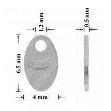 925 Sidabrinė plokštelė prabai 6.5mm padengta rodžiu (5 vnt)