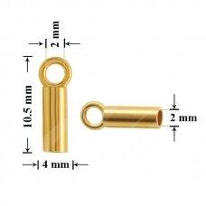 925 Sidabrinė užbaigimo detalė su kilpute 2mm padengta auksu