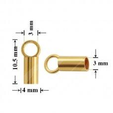 925 Sidabrinė užbaigimo detalė su kilpute 3mm padengta auksu