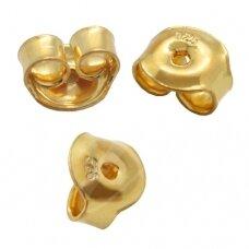 925 sidabriniai auskarų fiksatoriai 5mm padengti auksu (4 vnt)