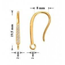 925 Sidabriniai auskarų kabliukai 19.5x3mm padengti auksu