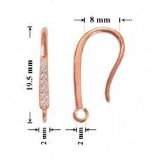 925 Sidabriniai auskarų kabliukai 19.5x3mm padengti rausvu auksu