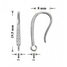 925 Sidabriniai auskarų kabliukai 19.5x3mm padengti rodžiu