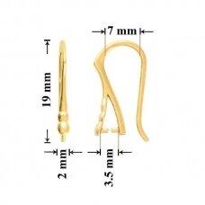 925 Sidabriniai auskarų kabliukai 19x7mm padengti auksu