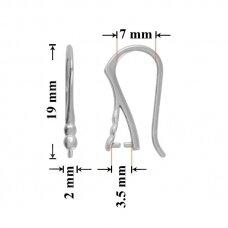 925 Sidabriniai auskarų kabliukai 19x7mm padengti rodžiu