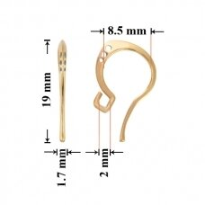925 Sidabriniai auskarų kabliukai 19x8.5mm padengti auksu