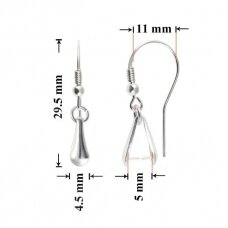 925 Sidabriniai auskarų kabliukai 29.5x4.5mm