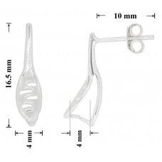 925 Sidabriniai įsegami auskarai adatėlės 16.5x4mm