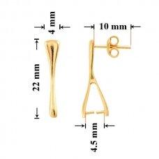 925 Sidabriniai įsegami auskarai adatėlės 22x4.5mm padengti auksu