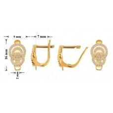 925 Sidabriniai užsegami auskarai 16x9mm padengti auksu
